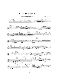 Paganini - Violin concerto N6 e-moll op.post - Instrument part - first page