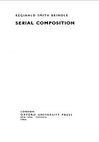 Smith Brindle - Serial Composition - Instrument part - first page