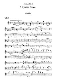 Albeniz - Three pieces (Cordova, Sevilla, Spanish serenade) for violin - Instrument part - First page