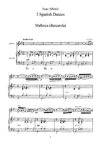 Albeniz - Three pieces (Barcarolla, Zambra Granadina, Puerta de Tierra) for violin - Piano part - First page