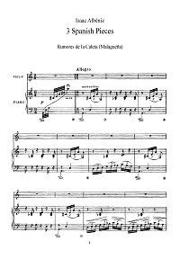 Albeniz - Three pieces (Malaguena, Pavane-Capriccio, Torre Bermeja) for violin - Piano part - First page