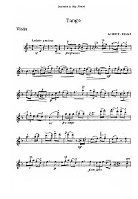 Albeniz - Tango for violin - Instrument part - First page