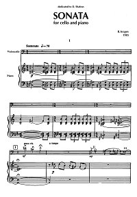 Arapov - Cello sonata (1985) - Piano part - first page