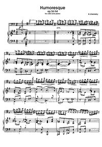 Arensky - Humoresque for cello and piano - Piano part - first page