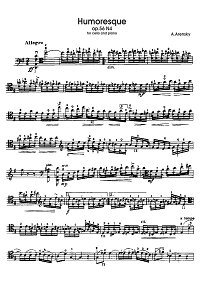 Arensky - Humoresque for cello and piano - Instrument part - first page