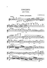 Arensky - Violin concerto Op.54 (1891) - Instrument part - first page