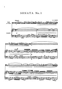 Bach - 3 sonatas for viola da gamba with klavier (transcription for viola) - Piano part - First page