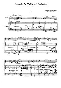 Barber - Violin concerto op.14 - Piano part - First page