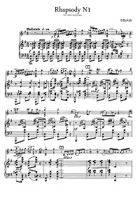 Bartok - Violin Rhapsody N1 - Piano part - first page