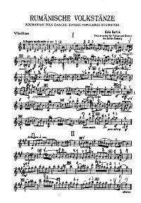 Bartok - Six Romanian dances for violin - Instrument part - First page