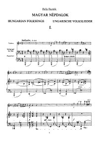 Bartok - Hungarian melodies for violin - Piano part - First page