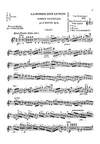 Bazzini - Fantastic scherzo op. 25 for violin - Instrument part - first page
