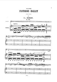 Beriot - Fantasy-ballet Op.105 for violin - Piano part - first page