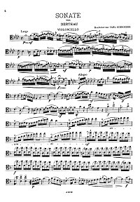 Berteau - Cello Sonata F-dur - Instrument part - first page