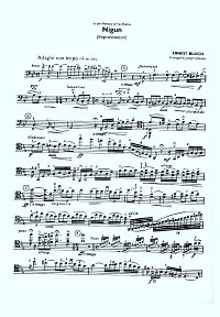 Bloch - Nigun for cello and piano (Improvisation) - Instrument part - first page