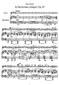 Bruch - In Memoriam for violin op.65 - Piano part - First page