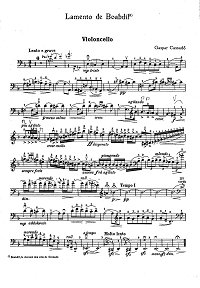 Cassado - Lamento de Boabdil for Cello - Instrument part - first page