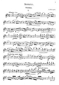 Cui - Violin sonata D-dur op.84 - Instrument part - first page
