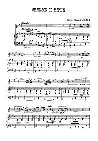 Elgar - 2 Songs for violin op.15 - Piano part - first page
