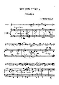 Elgar - Sursum Corda for violin op.11 - Piano part - first page