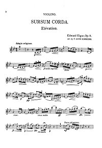 Elgar - Sursum Corda for violin op.11 - Instrument part - first page