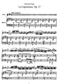 Elgar - Capriccioso for violin op.17 - Piano part - First page