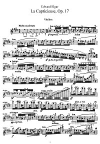 Elgar - Capriccioso for violin op.17 - Instrument part - First page