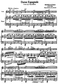 Falla Manuel - Spanish dance for violin - Piano part - first page