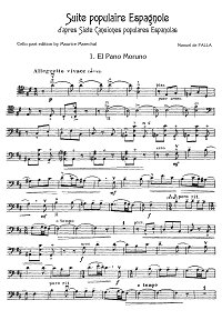 Falla Manuel - Suite Populaire Espagnole for cello - Instrument part - first page