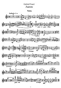 Faure - Aurora for violin - Instrument part - First page