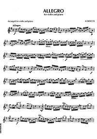 Fiocco - Allegro for violin and piano - Instrument part - first page