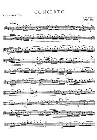 Fiocco - Cello Concerto - Instrument part - first page