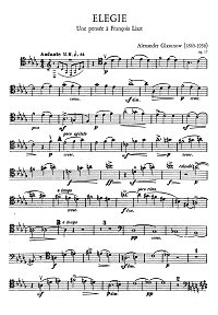 Glazunov - Elegia for cello and piano - Instrument part - first page