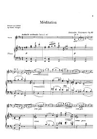 Glazunov - Meditation Op.32 for violin and piano - Piano part - first page