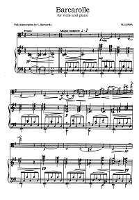 Glinka - Barcarolle in G major for viola and piano - Piano part - first page