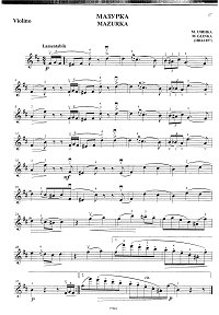 Glinka - Mazurka for violin - Instrument part - First page