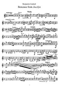 Godard - Lullaby for violin - Instrument part - First page