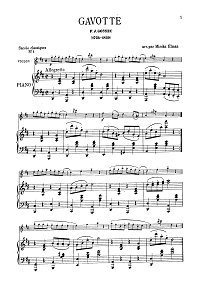Gossek - Gavotte for violin (Elmann) - Piano part - First page