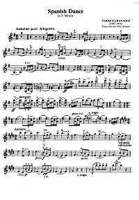 Granados - Spanish dance for violin op.5 - Instrument part - First page