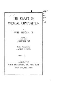 Hindemith Paul - The Craft of Musical Composition - Instrument part - first page