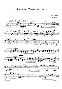 Hindemith - Sonate for cello solo op.25 N3 - Instrument part - first page