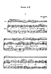 Hindemith - Violin Sonata N3 E-dur - Piano part - first page