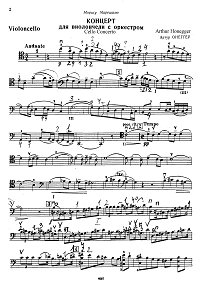 Honegger - Cello concerto - Instrument part - first page