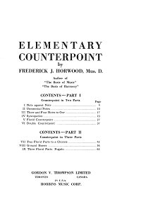 Horwood Frederick - Elementary Counterpoint - Instrument part - first page