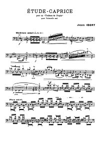Ibert - Etude - Caprice for cello solo - Instrument part - first page