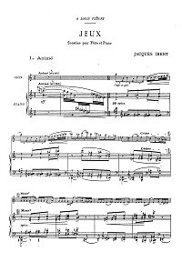 Ibert - Jeux -Sonatina for flute - Piano part - first page
