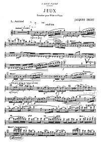 Ibert - Jeux -Sonatina for flute - Flute part - first page