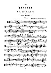 Joachim - Romance for violin and piano - Instrument part - first page