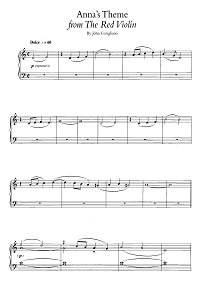 Korigliano - Anna's theme (From the Red violin) - Piano part - First page