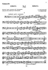 Kabalevsky - Cello sonata op. 71 - Instrument part - first page